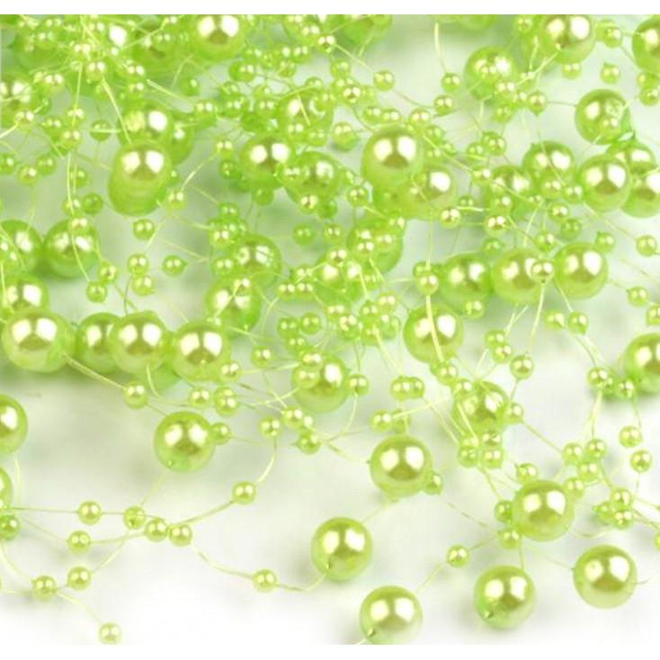 Perełki na żyłce silikonowej Ø7mm długość 130cm - jasnozielone