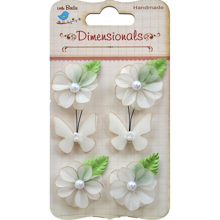 Zestaw papierowych kwiatów - Vellum Bloom with butterflies