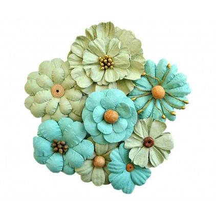 Paper flower set , khaki and mint - Symphony Flower Pacyfic Blue - 8 pcs.