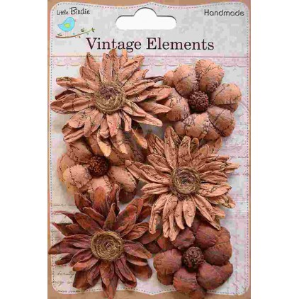 Paper flower set - Vintage Phoebe Petals Terracotta