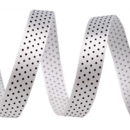 Satin ribbon - 1 meter - white with black dots