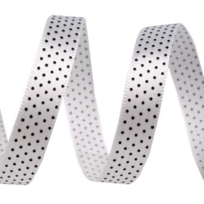 Wstążka satynowa - 1 metr - biała w czarne groszki