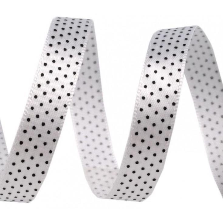 Satin ribbon - 1 meter - white with black dots