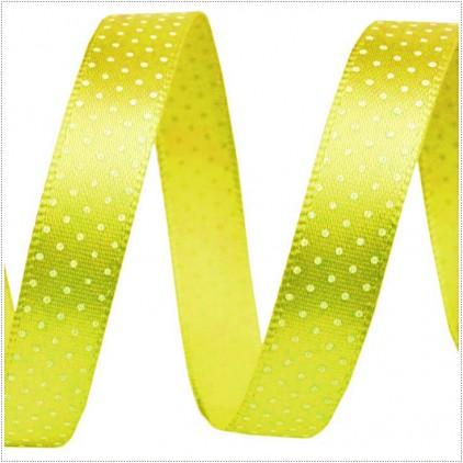 Wstążka satynowa - 1 metr - żółta w drobne, białe groszki