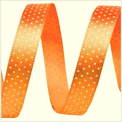 Wstążka satynowa - 1 metr - Pomarańczowa w drobne, białe groszki