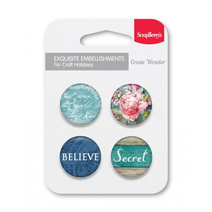 Selfadhesive buttons/badge - ScrapBerry's - Secret