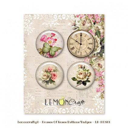 Zestaw samoprzylepnych ozdób / buttonów - Dom Róż