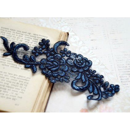 Lace flowers - application - navy - 1 pc