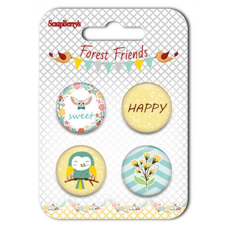 Selfadhesive buttons/badge - ScrapBerry's - Forest Friends 01