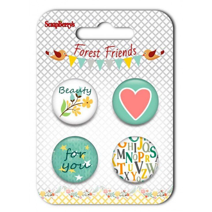Ozdoby samoprzylepne, buttony - ScrapBerry's - Forest Friends 02