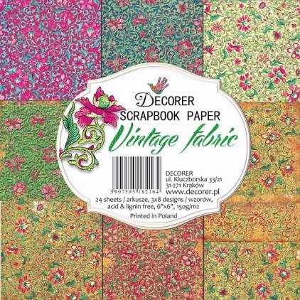 Mały bloczek papierów do scrapbookingu - Decorer - Vintage Fabric