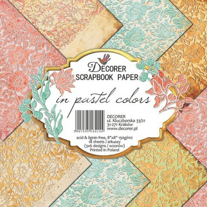 Decorer - Zestaw papierów do scrapbookingu - In Pastel Colors