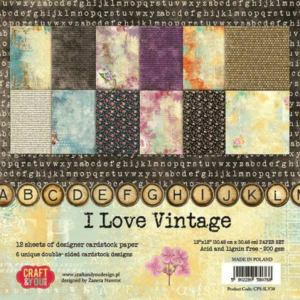 Set of scrapbooking papers - Craft and You Design - I Love Vintage