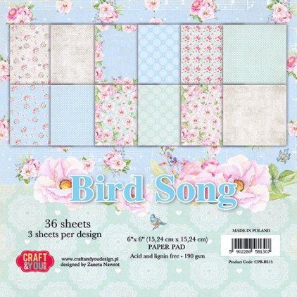 Mały bloczek papierów do scrapbookingu - Craft and You Design - Bird Song
