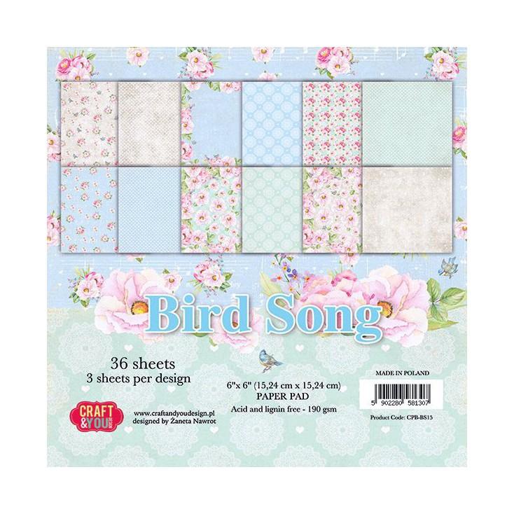 Mały bloczek papierów do scrapbookingu - Craft and You Design - Bird Song