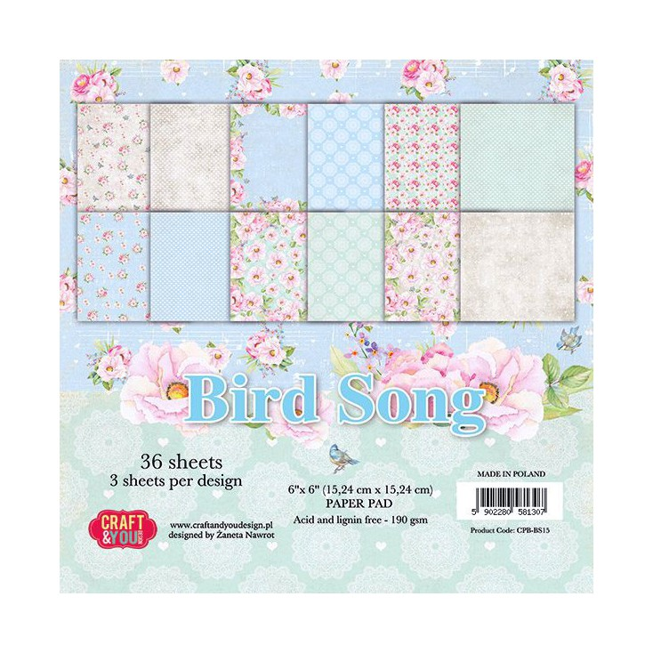 Set of scrapbooking papers - Craft and You Design - Bird Song