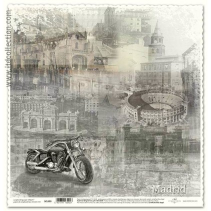 Scrapbooking vintage Madrid paper - ITD Collection SCL593