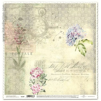 Papier vintage kwiaty do scrapbookingu - ITD Collection SCL589