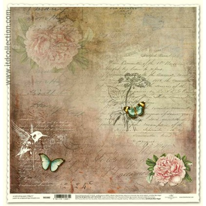 Scrapbooking paper vintage humming-bird- ITD Collection SCL582