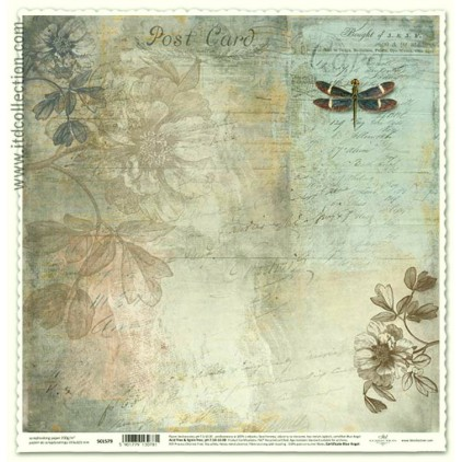 Scrapbooking paper vintage dragonfly - ITD Collection SCL579
