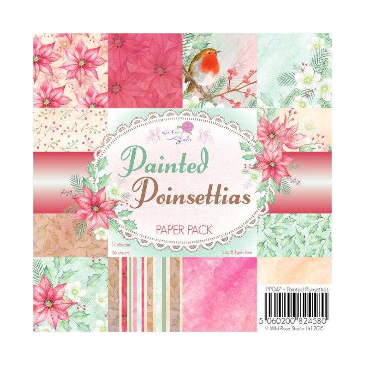 Wild Rose Studio - Pad of scrapbooking papers - Painted Poinsettias