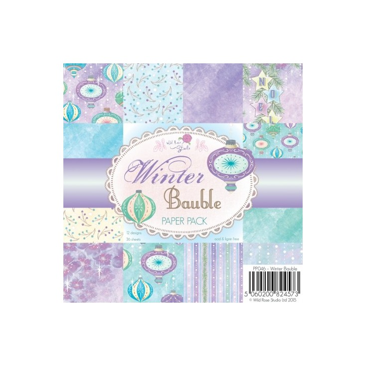 Wild Rose Studio - Pad of scrapbooking papers - Winter Bauble