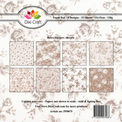 Dixi Craft - Pad of scrapbooking papers - Retro Flowers Brown