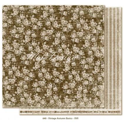 Brązowy papier w róże - Papier do scrapbookingu - Maja Design Vintage Autumn Basics no. XVII
