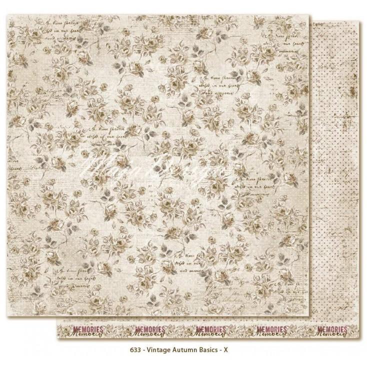 Beżowy papier w różyczki - Papier do scrapbookingu - Maja Design Vintage Autumn Basics no. X