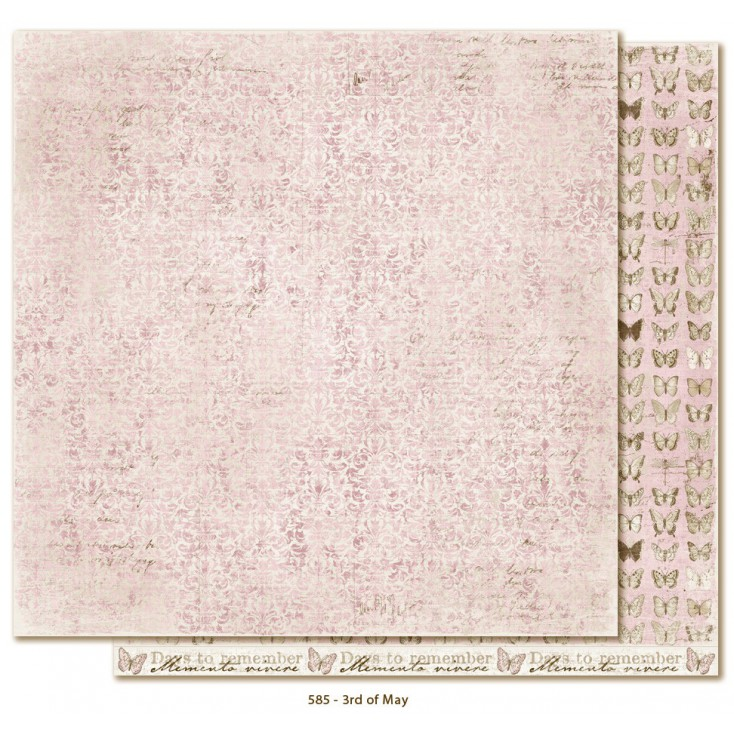 Papier w drobne kwiatuszki - Papier do scrapbookingu - Maja Design - Vintage Spring Basics - 3rd of May