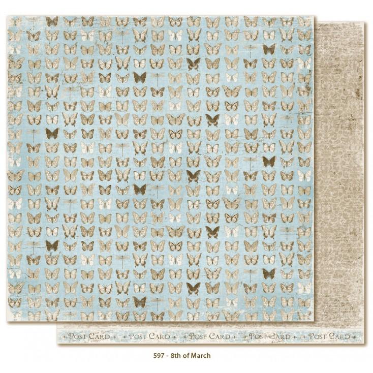 Błękitny papier w motylki - Papier do scrapbookingu - Maja Design - Vintage Spring Basics - 8th of March