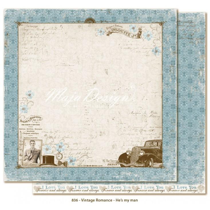 Papier niebieskie damaski - Papier do scrapbookingu - Maja Design - Vintage Romance - He's my man