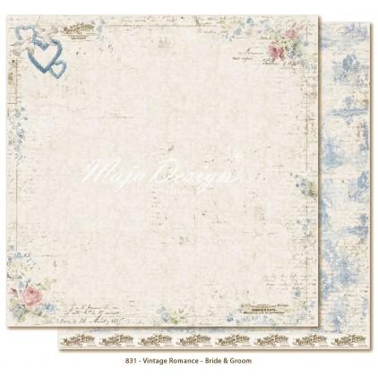 Papier w zakochane pary - Papier do scrapbookingu - Maja Design - Vintage Romance - Bride & Groom
