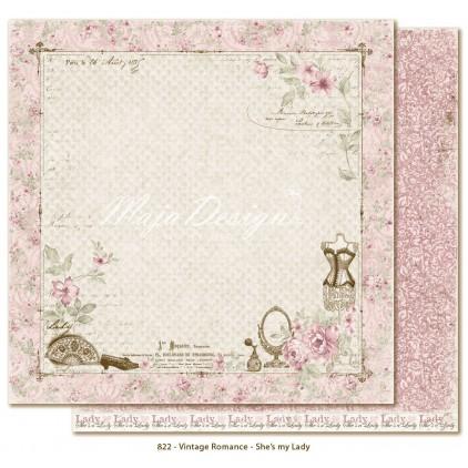 Papier w różowe damaski - Papier do scrapbookingu - Maja Design - Vintage Romance - She's my Lady