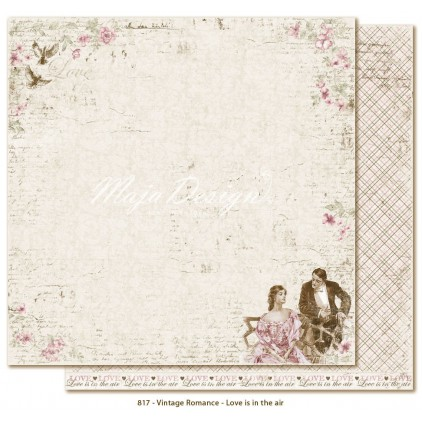 Papier w romantyczną kratkę - Papier do scrapbookingu - Maja Design - Vintage Romance - Love is in the air