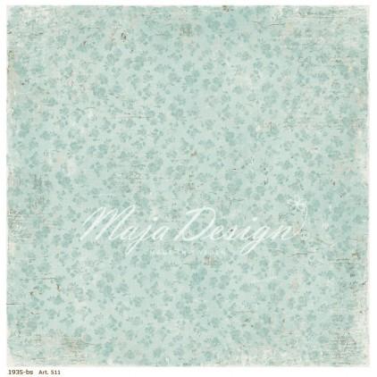 Błękitny papier w kwiatuszki - Papier do scrapbookingu - Maja Design - Vintage Summer Basics - 1935