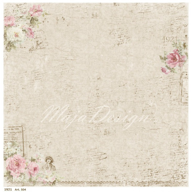 Beżowy papier retro - Papier do scrapbookingu - Maja Design - Vintage Summer Basics - 1921