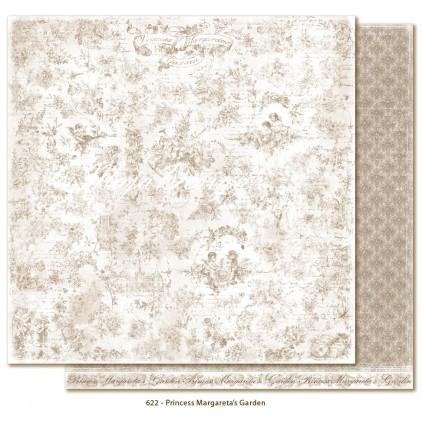 Papier w brązowe damaski - Papier do scrapbookingu - Maja Design - Sofiero - Princess Margareta's Garden