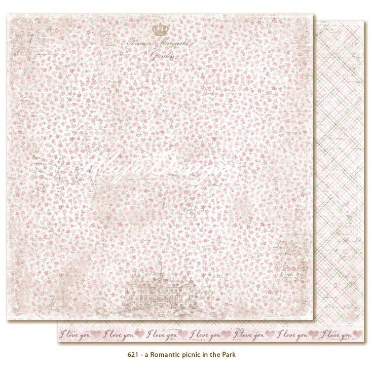 Papier w różowe kwiatuszki - Papier do scrapbookingu - Maja Design - Sofiero - a Romantic picnic in the Park