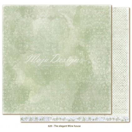 Zielony papier w damaski - Papier do scrapbookingu - Maja Design - Sofiero - The elegant Wine house
