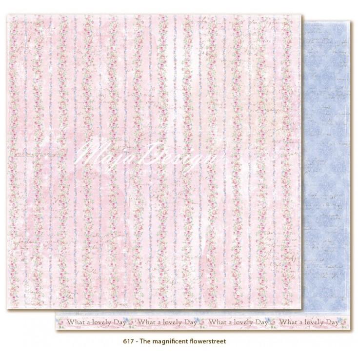 Różowy papier w delikatne różyczki - Papier do scrapbookingu - Maja Design - Sofiero - The magnificent Flowerstreet