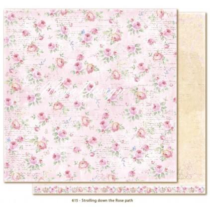 Papier w delikatne róże - Papier do scrapbookingu - Maja Design - Sofiero - Strolling down the Rose path