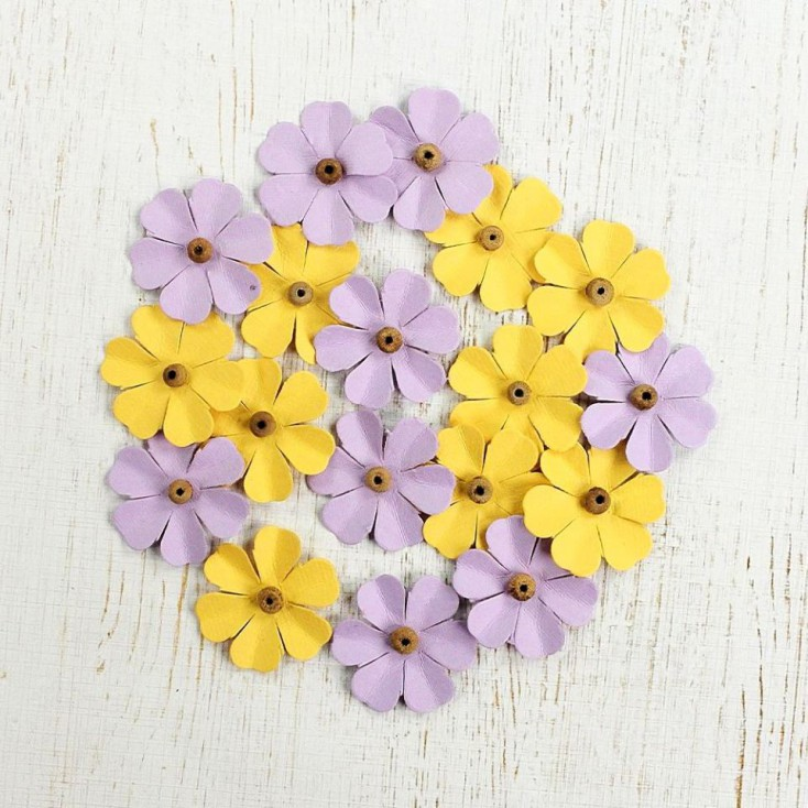 Paper flower set - Beaded Fancies Lavender Dew
