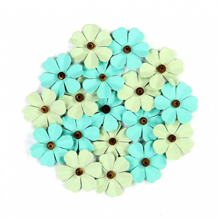 Paper flower set - Beaded Fancies Pacific Blue
