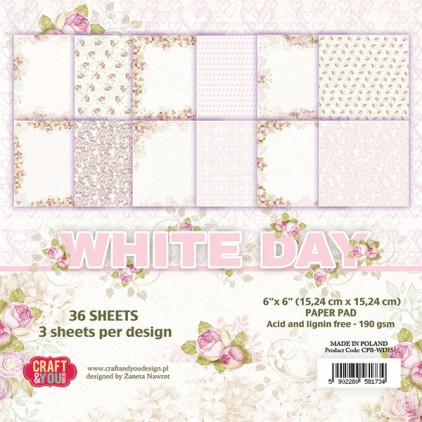 Set of scrapbooking papers - Craft and You Design - White Day