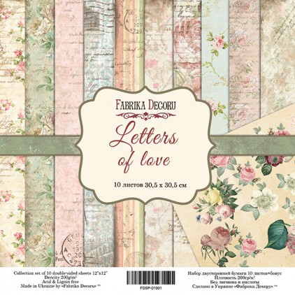 Set of scrapbooking papers - Fabrika Decoru - Letters Of Love