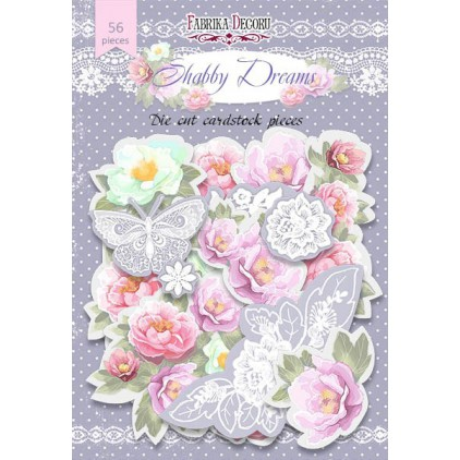 Set of die cuts - Fabrika Decoru - Shabby Dreams - 56pcs