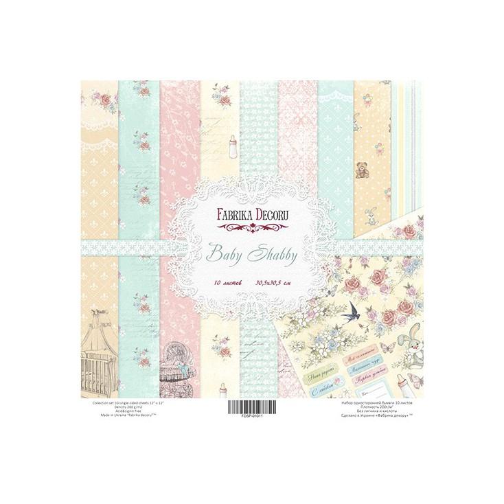 Zestaw papierów do tworzenia kartek i scrapbookingu - Fabrika Decoru -Baby Shabby