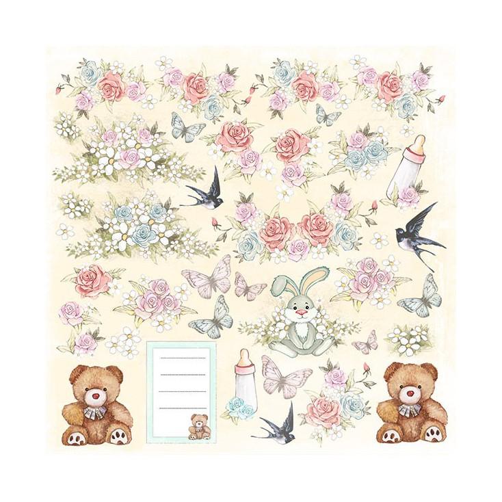 Papier do tworzenia kartek i scrapbookingu - Fabrika Decoru - Baby Shabby 01 - Obrazki do wycinania