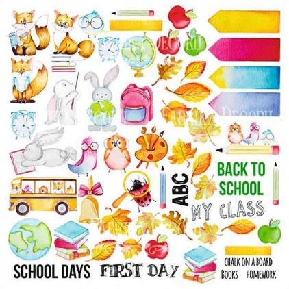 Scrapbooking paper - Fabrika Decoru - Back to school - Pictures for cutting
